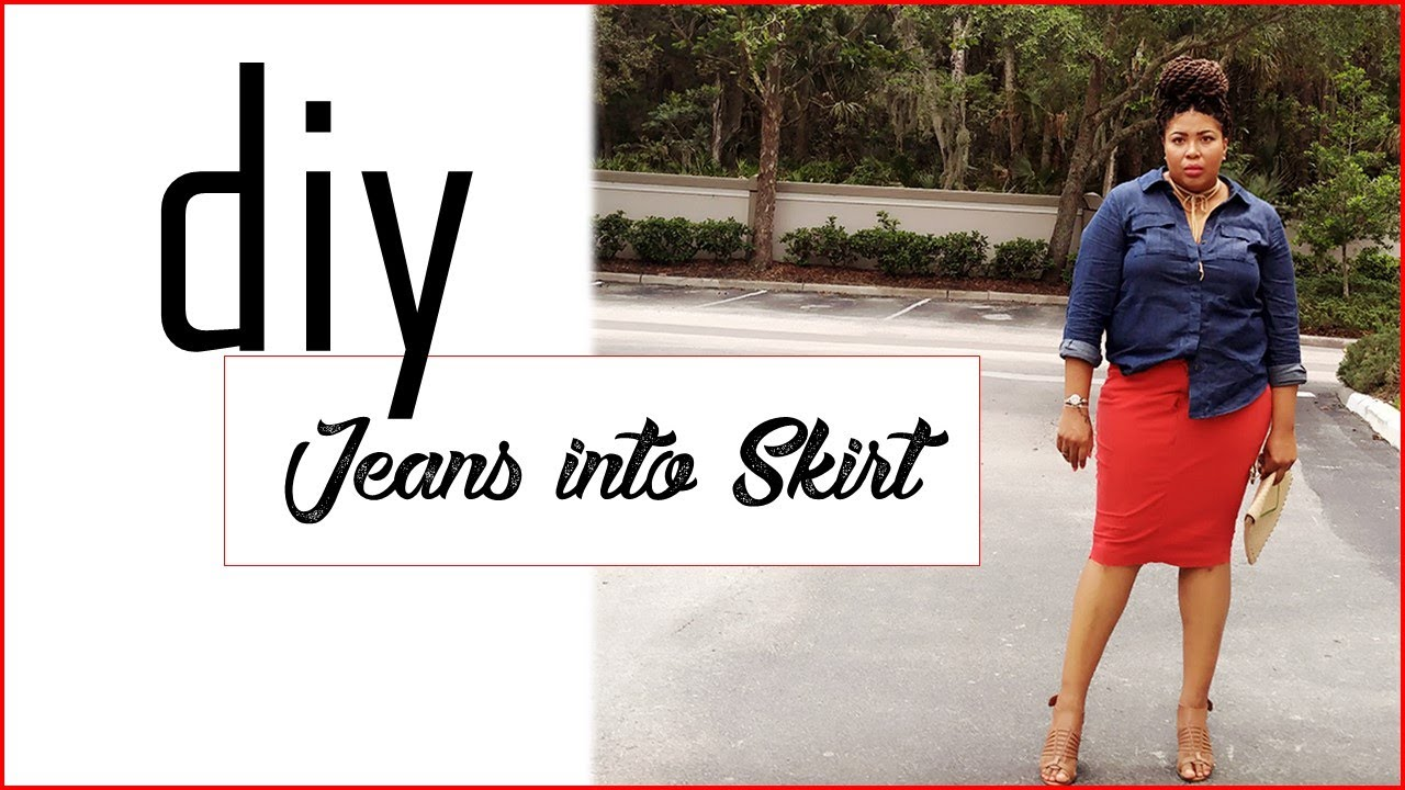 83e65c5c5a7 Plus Size DIY (NO SEW) Skirt from Jeans