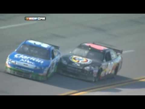 Wild Crash! Carl Edwards goes airborne and into the fence just short of the finish line at Talladega