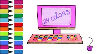 Computer Drawing Pages! Fun Coloring Activity for Kids Toddlers