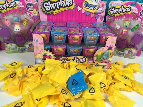 Shopkins Season 1 & 2 Full Box Palooza Blind Bag Basket 2 Pack Unboxing Toy Review
