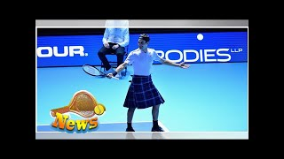 Roger federer wears a kilt during match against andy murray