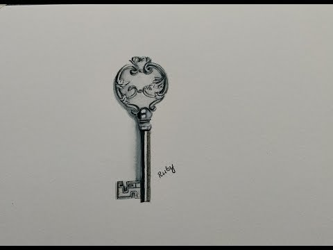 Drawing a realistic 3D key painting using watercolor