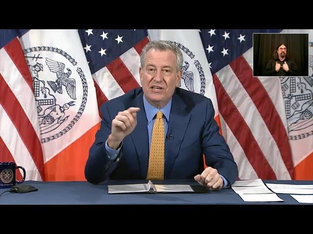 NYC Mayor de Blasio Says Covid-19 'Bearing Down on Us'