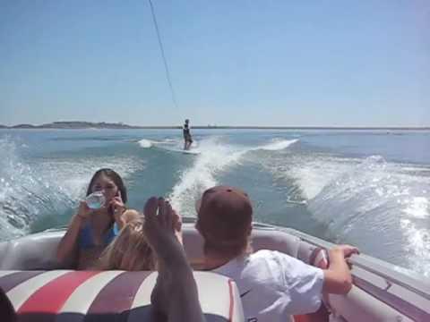 David of Folsom lake California wake boarding with a 1986 ...