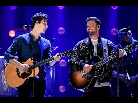 Shawn Mendes and Justin Timberlake performing