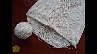 Пуловер с аранами спицами. Часть 9.