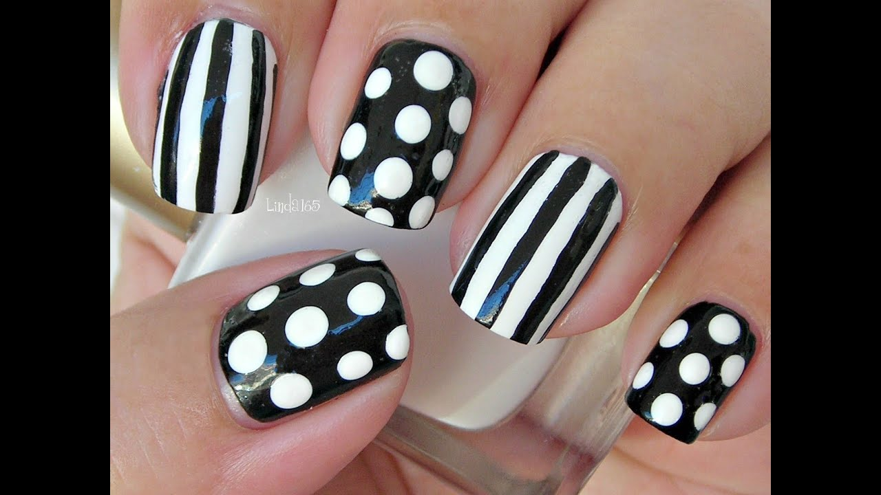 Nail art dots and stripes decoracion de u as youtube - Decoracion blanco y negro ...