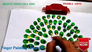 How to draw Peacock || Finger Painting || Drawing for kids || By Panira Arts