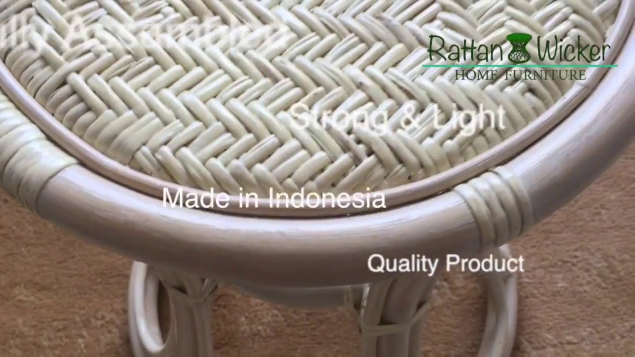 Rattan Wicker Round Universal Home Stool Tom White Wash Color Colors Designer Handmade