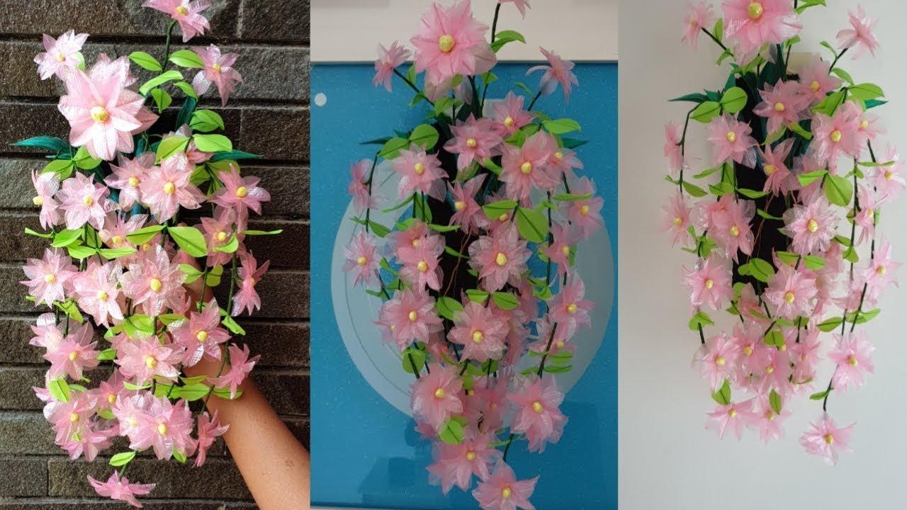 Cara Membuat Bunga Hias Dinding Dari Kantong Plastik Wall Decoration Youtube