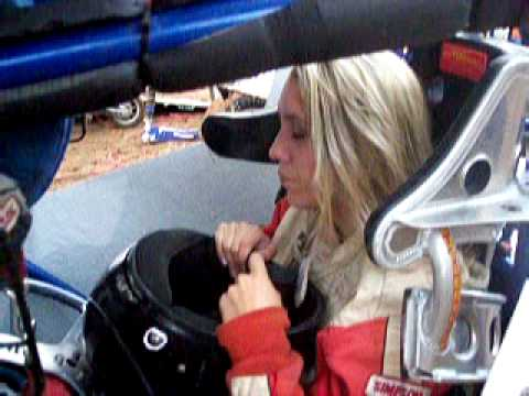 Raquel Ivie getting ready to race. Cottage Grove Speedway. Cottage Grove Oregon
