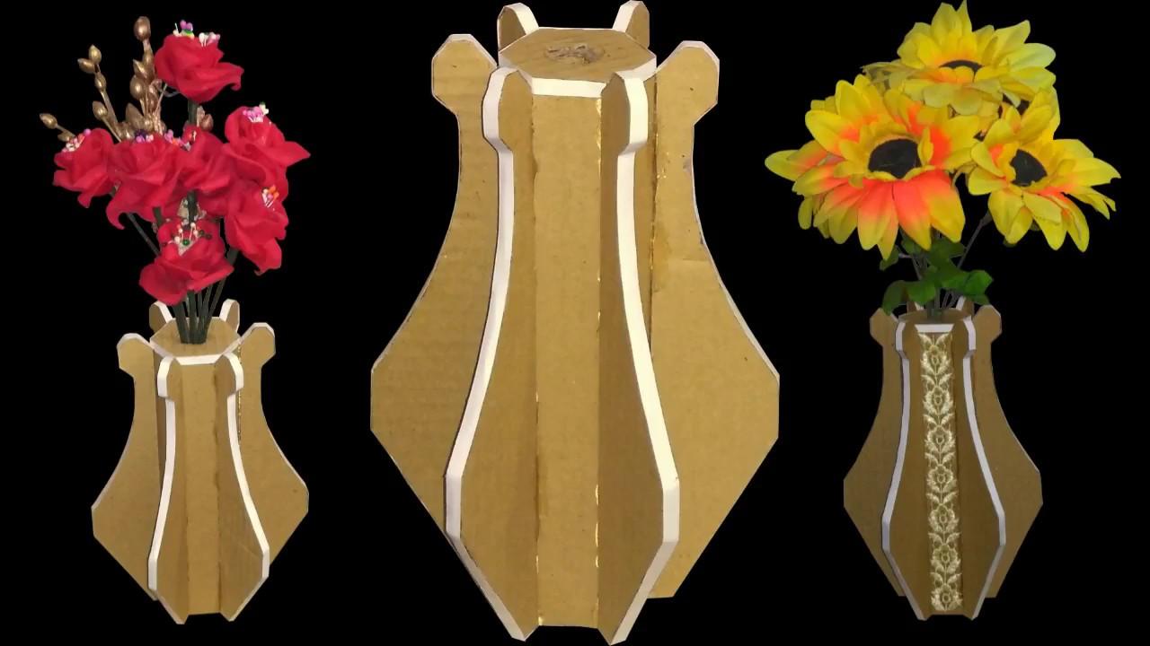 new design flower vase making using cardboard & new design flower vase making using cardboard - YouTube