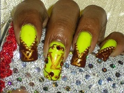 Notw Louis Vuitton Lv Inspired Nail Art Design Yellow Brown Gold