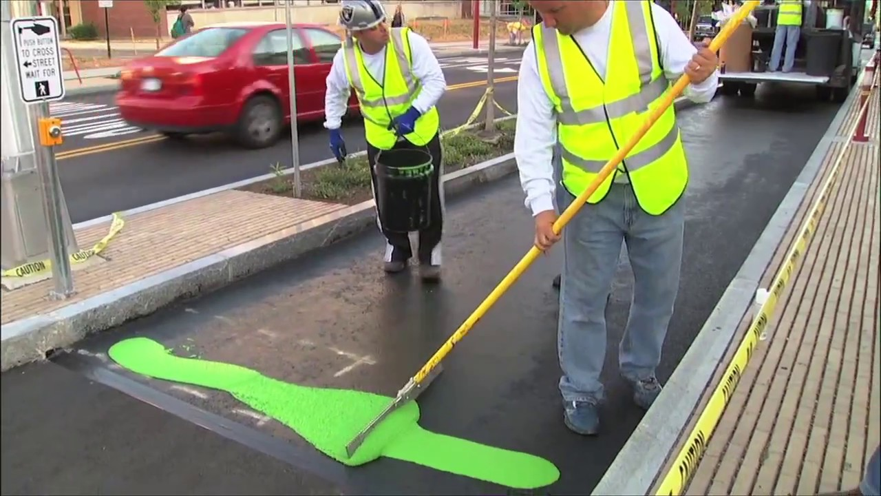 Color-Safe MMA Green Bike Lane Marking - YouTube