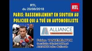 Paris: rassemblement en soutien au policier qui a tué un automobiliste