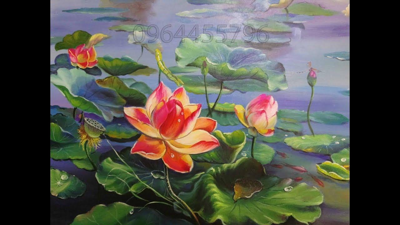 Tranh treo tường phòng khách tranh sơn dầu hoa sen mua tranh giá gốc LH 0964455796
