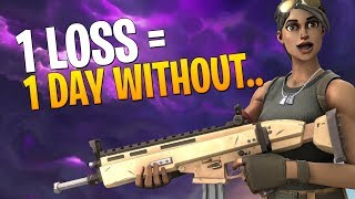 1 LOSS = 1 DAY WITHOUT... Fortnite Battle Royale LIVE with Mitcho! (Interactive Streamer)