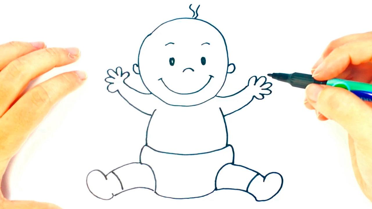 C mo dibujar un beb paso a paso dibujo f cil de beb - Dibujos pared bebe ...