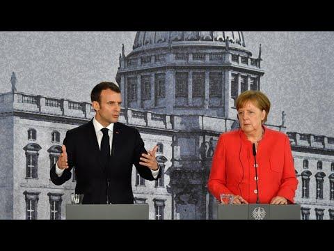 À Berlin, Macron tente de relancer ses projets européens face aux réticences de Merkel