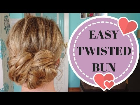 Quick & easy twisted low bun updo hairstyle - wedding prom brides thumbnail