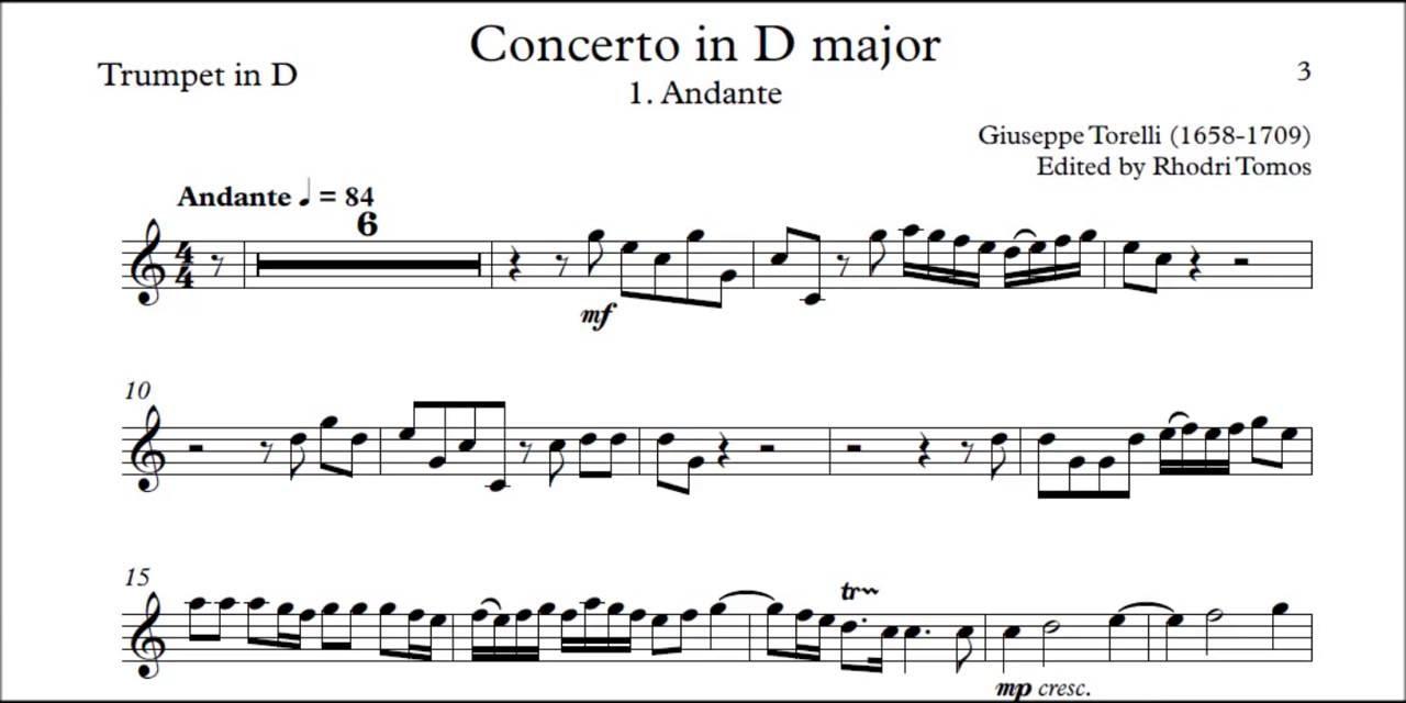 Torelli Trumpet Concerto In D Estienne Roger 188 Trumpet Solo Sheet Music And Mp3 Accompaniment