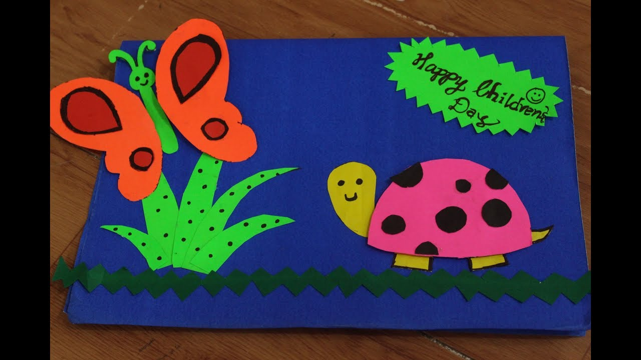 Card Making Ideas For Children Part - 35: DIY Happy Childrenu0027s Day Greeting Card Making Ideas| Handmade Card For  Childrenu0027s Day 2017