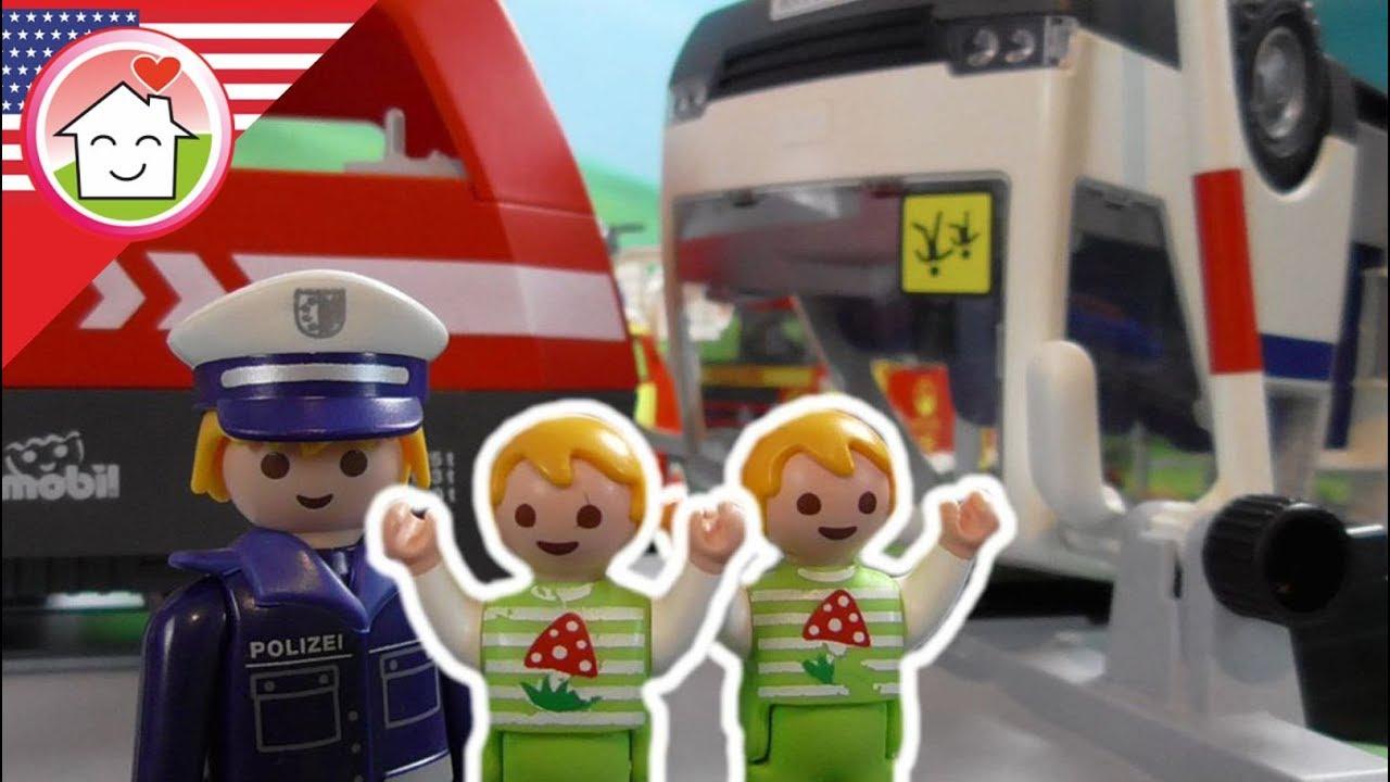 Playmobil Movie English The Train Crash The Hauser Family YouTube - Lego minecraft hauser