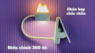 Trên tay đèn học bài kẹp bàn tích điện, 3 mức độ sáng, có luôn đèn ngủ rất dễ thương