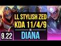 LL Stylish ZED vs DIANA (MID) | 2.4M mastery points, 4 early solo kills | NA Grandmaster | v9.22