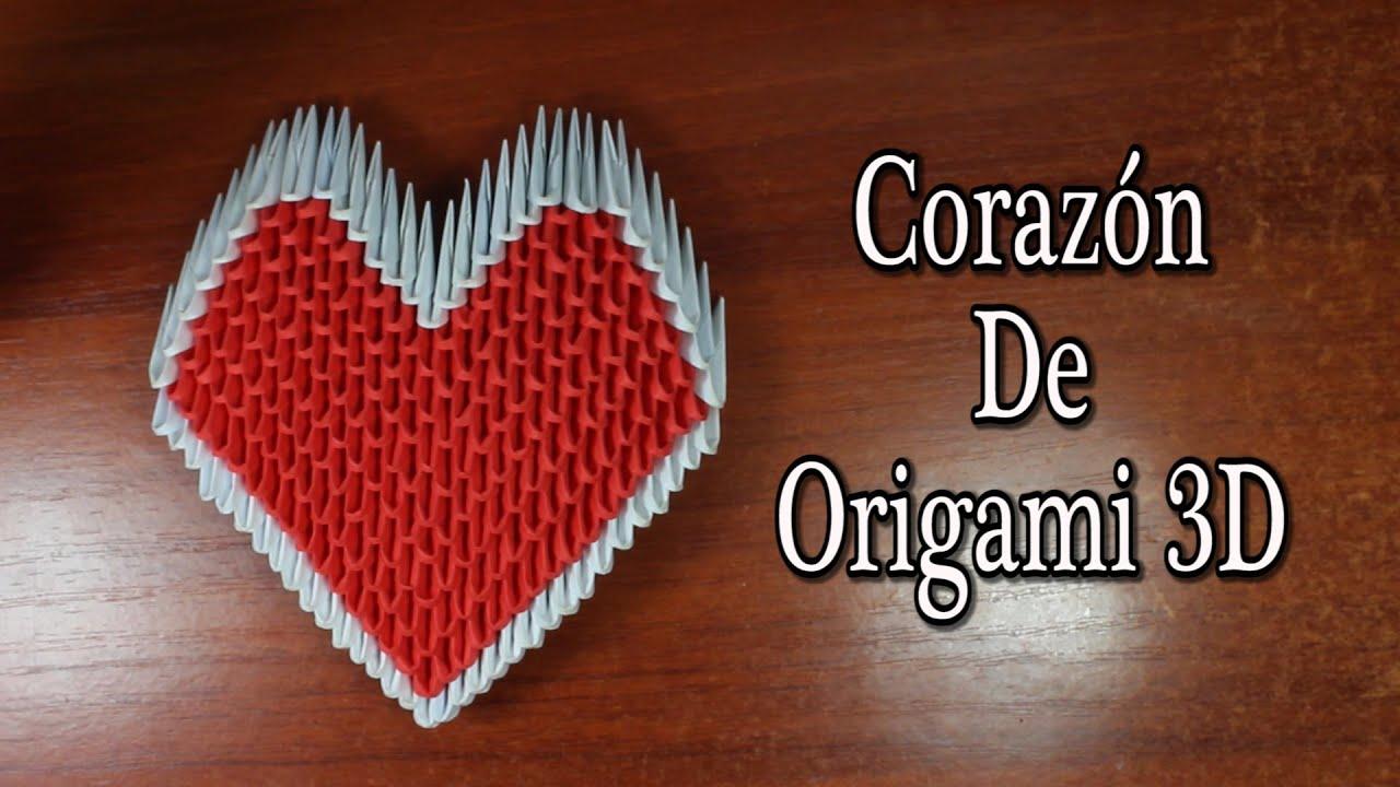 Heart / Corazón De Origami 3D TUTORIAL! - YouTube - photo#1