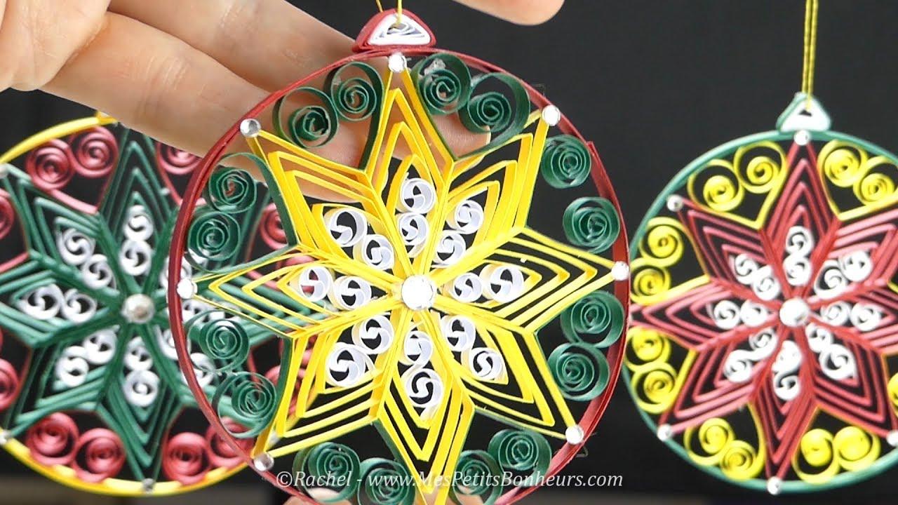 Diy Boule De Noël En Papier Avec 3 Techniques De Quilling