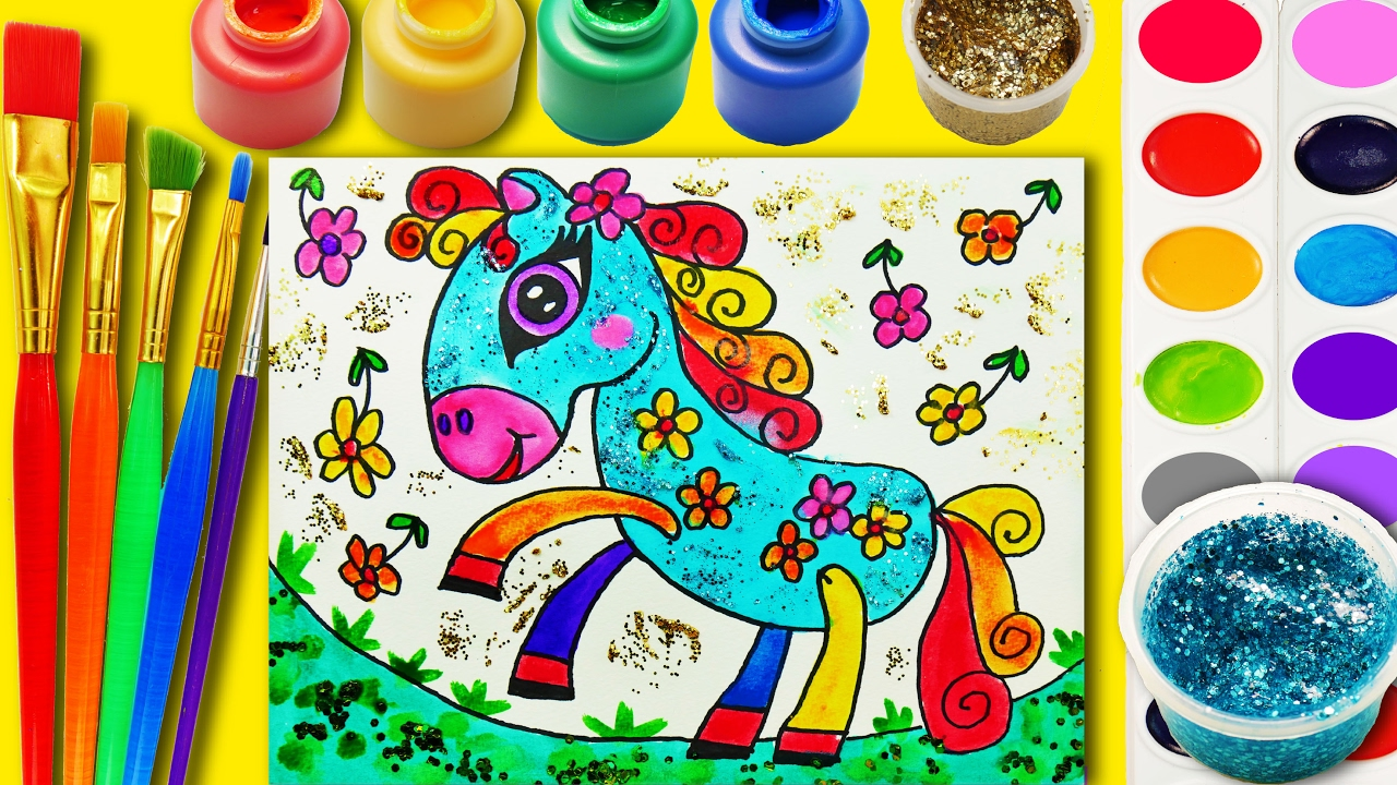learn to color cute horse coloring page for kids hand color