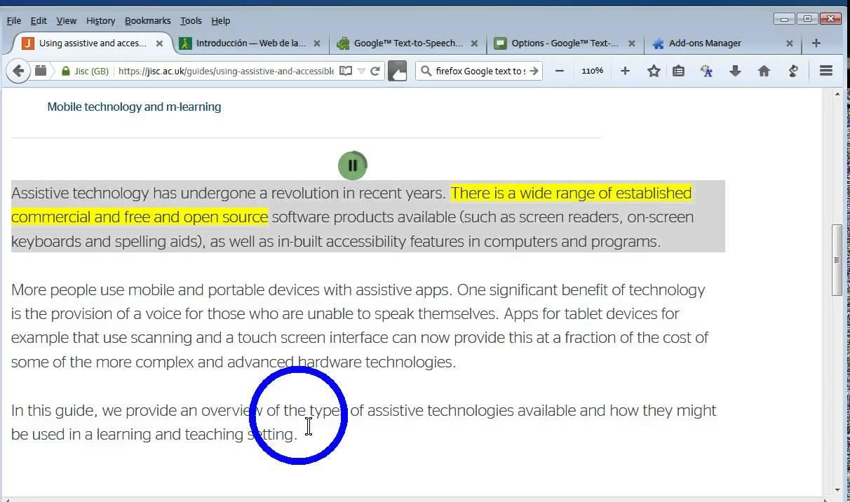 Google Text to speech for FireFox
