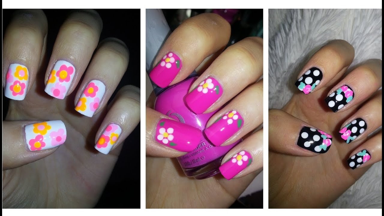 spring nail art three easy flower designs youtube