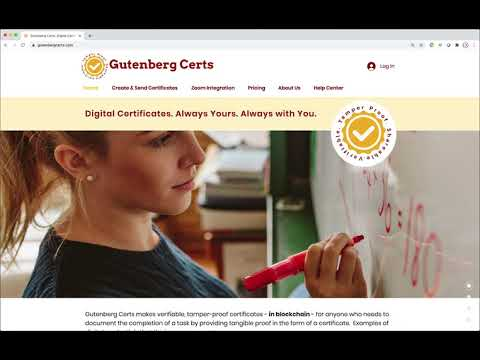 Gutenberg Certs - Zoom Integration and How To Create Certificates