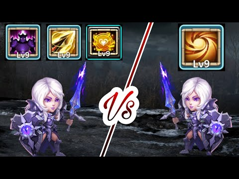 9/9 Sacred Light Rosaleen Vs 9/9 Different Talent Rosallen | Offense/Defence Both | Castle Clash