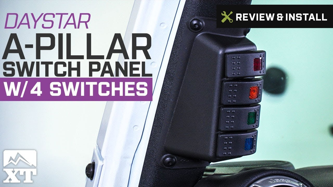 jeep wrangler daystar a pillar switch panel w 4 switches 2007 2017 jk review install [ 1280 x 720 Pixel ]