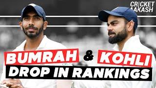 BUMRAH and KOHLI drop in ICC rankings   Cricket Aakash   Cricket NEWS