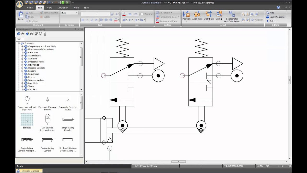 pneumatic my first pneumatic circuit automation studio  [ 1280 x 720 Pixel ]
