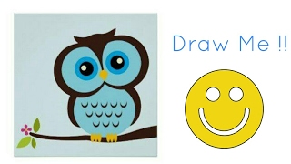 How to Draw A Cute, Chubby Owl |Mosaic Art | For Kids | Very Easy