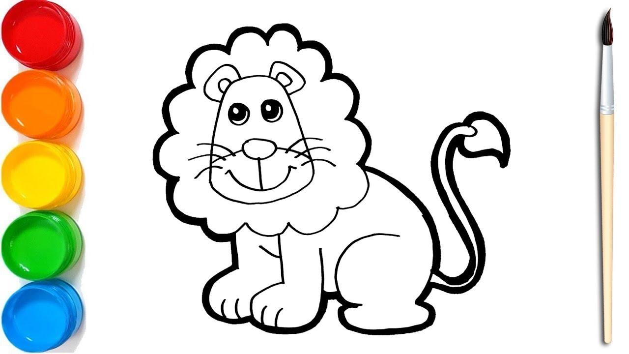 Cara Menggambar Dan Mewarnai Singa Si Raja Hutan Untuk Anak