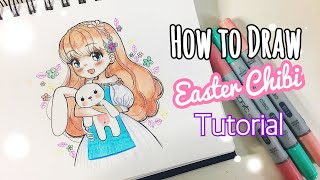 How To Draw - EASTER CHIBI Girl! 🐰🌸