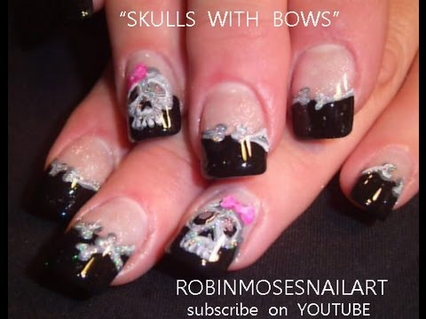 2 Nail Art Tutorials Diy Halloween Nails Skulls With Bows Youtube