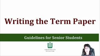 Preparing to Write the Term Paper(An introduction for how to use the 'Writing the Term Paper' presentation I put together for students. The presentation may be accessed here: ..., 2015-11-22T19:27:51.000Z)