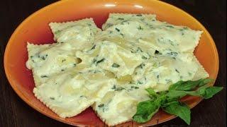Равиоли с лососем и сливочным соусом