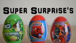 Surprise Eggs Ben 10 Marvel Spiderman Power Rangers Samurai Cartoon Network Easter Eggs