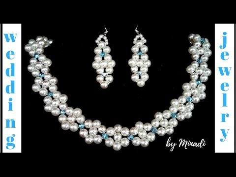 Beaded Bridal Jewelery Pattern. Wedding jewelry making.  Pearl and crystal DIY  necklace, earrings
