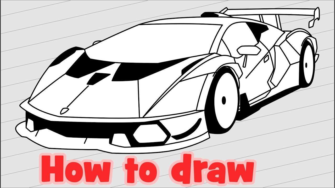 How to draw Lamborghini Essenza SCV12 - Как нарисовать машину Ламборджини
