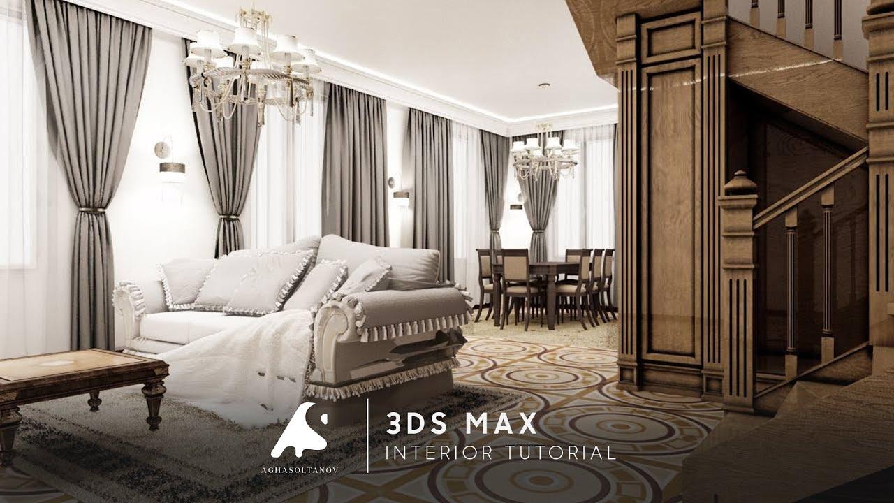 3D Max Tutorial Interior Modeling Vray +Photoshop 2016 #4 / Iç Klassic  Modellme