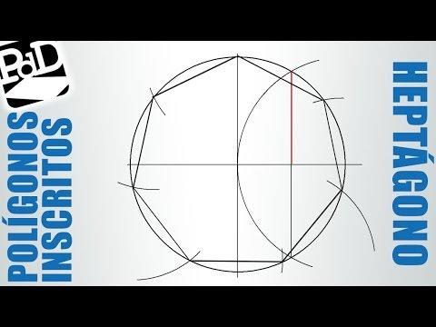 Heptágono inscrito en una circunferencia (Polígonos regulares).